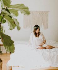 All white bohemian maternity photos