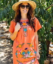 orange embroidered mexican dress