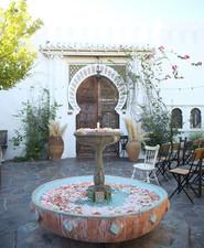 Fountain full of flowers for wedding decor