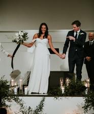 All white urban winter wedding in Cincinnati