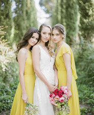 Lemon yellow bridesmaid dresses