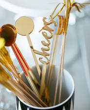 Gold cocktail stir sticks