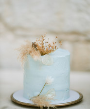 petit pale blue wedding cake