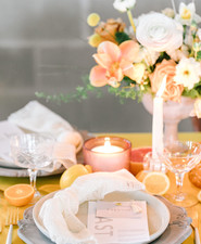 Marigold and grey modern tropical wedding ideas