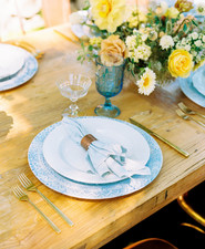Indigo and yellow place setting
