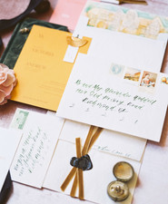 Gold and emerald wedding invitations
