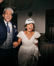 Bride and groom hats for reception