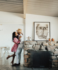 Joshua Tree engagement shoot at a desert airbnb