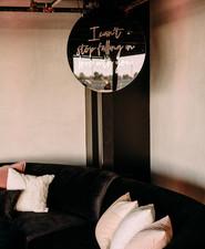 Blush and black wedding decor
