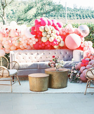 Pink balloon installation for party