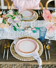 pink + blue place settings