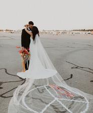 peace sign bridal veil