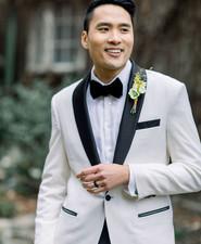 white tux for groom