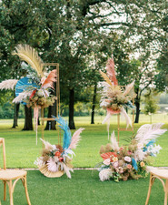 Modern outdoor wedding ceremony