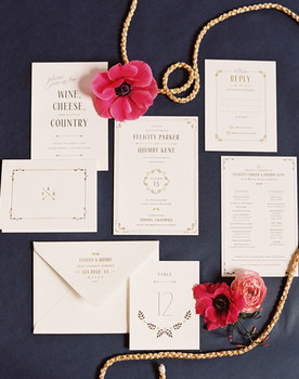 Vintage Classic Navy and White Wedding Invitations