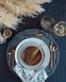 Rustic boho place setting with Crate and Barrel