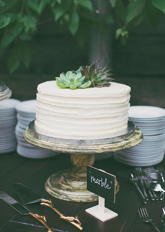 Simple White Wedding Cake With Succulent Topper Wedding Party