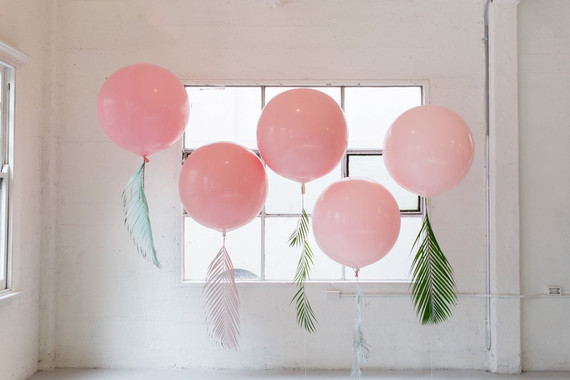 Pink Balloons With Tropical Foliage Wedding Amp Party
