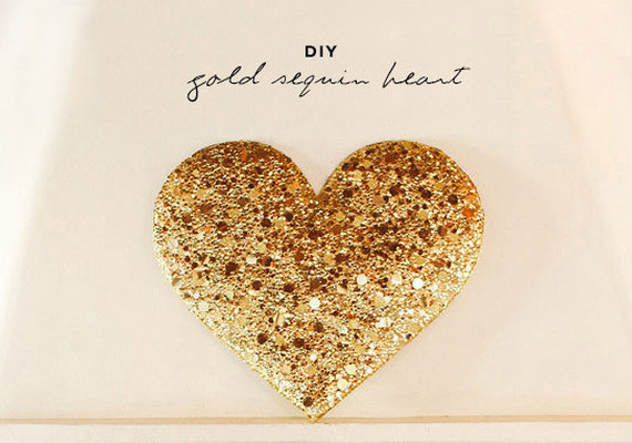 Gold Sequin Heart Installation Diy Projects 100 Layer Cake