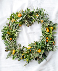 DIY orange & olive holiday wreath
